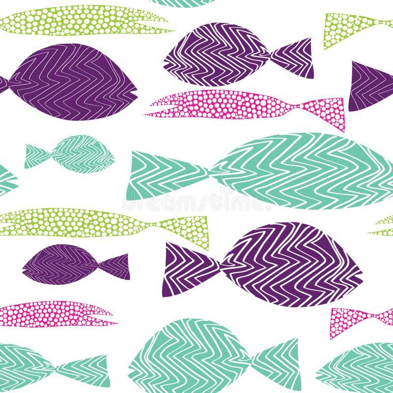 Teste padrão sem emenda dos peixes Peixes de Colordul com os pontos da American National Standard das listras Ilustração do vetor ilustração do vetor