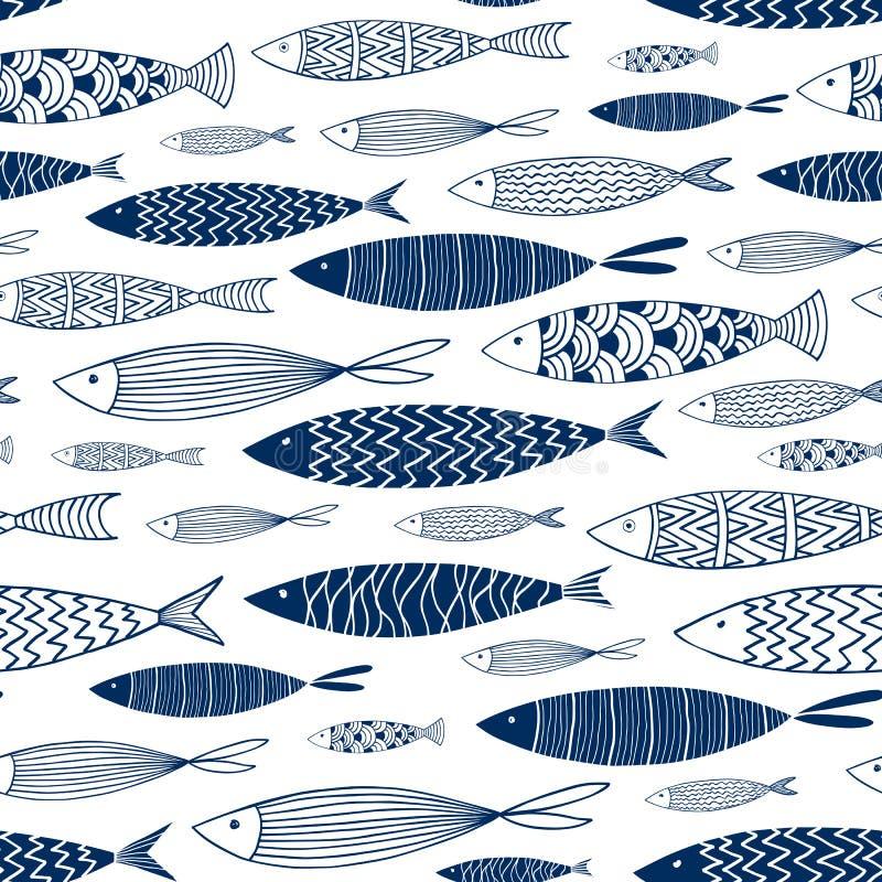Teste padrão sem emenda dos peixes decorativos 2 ilustração royalty free