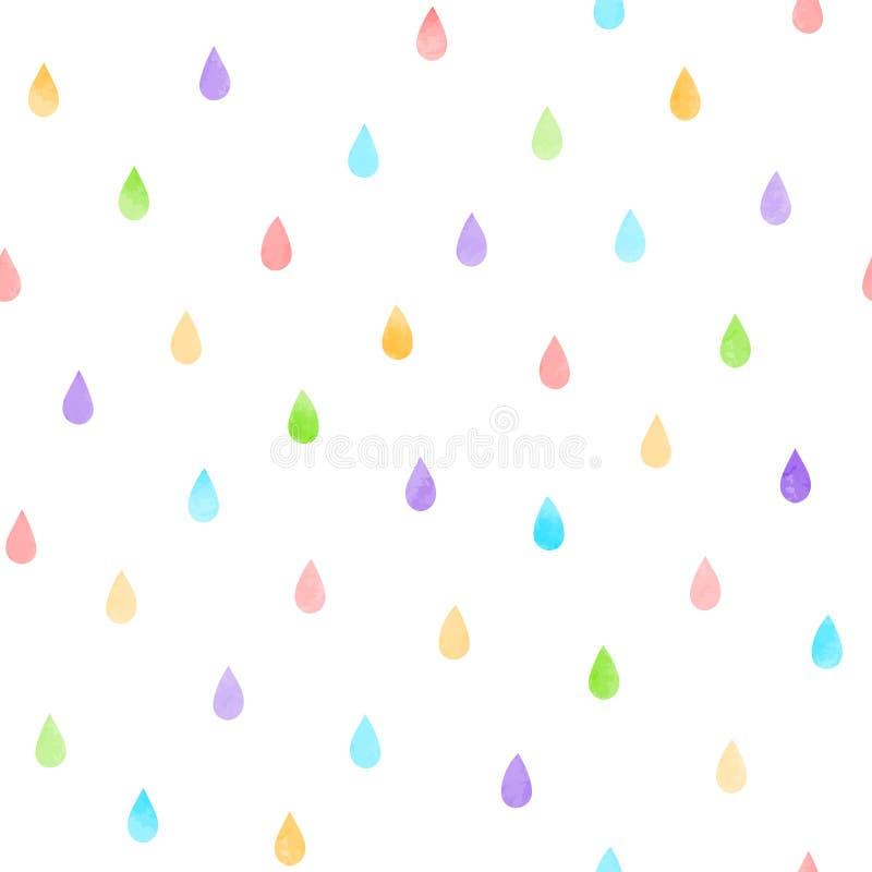 Teste padrão sem emenda dos pingos de chuva ilustração do vetor