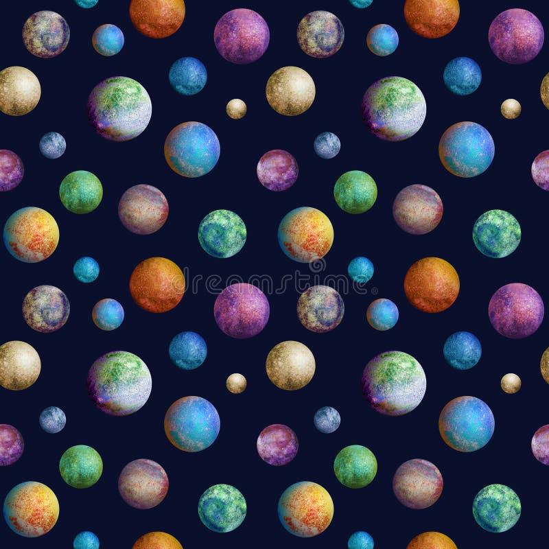 Teste padrão sem emenda dos planetas coloridos da aquarela ilustração royalty free