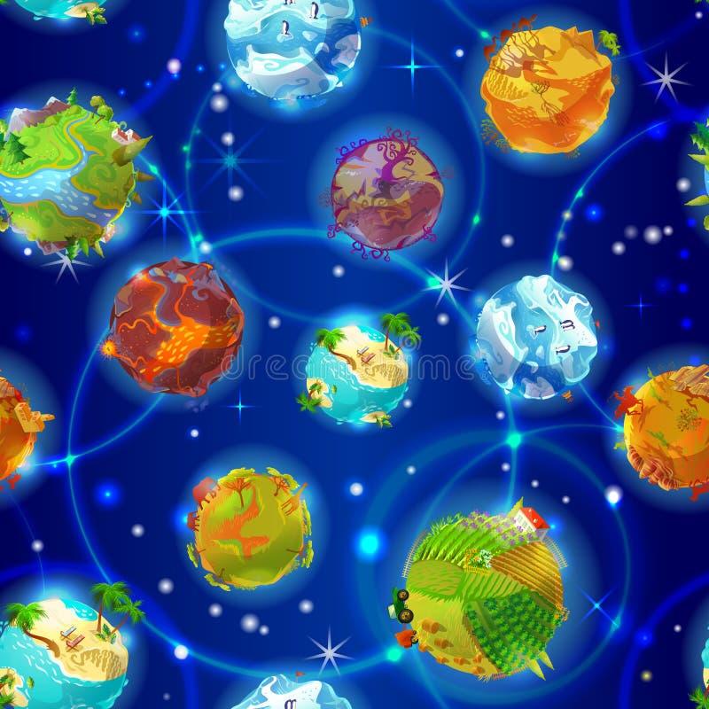 Teste padrão sem emenda dos planetas da terra dos desenhos animados fotografia de stock