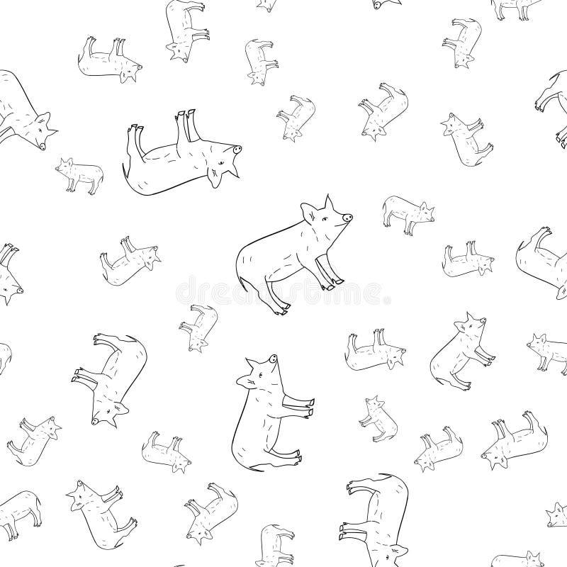 Teste padrão sem emenda dos porcos ilustração do vetor