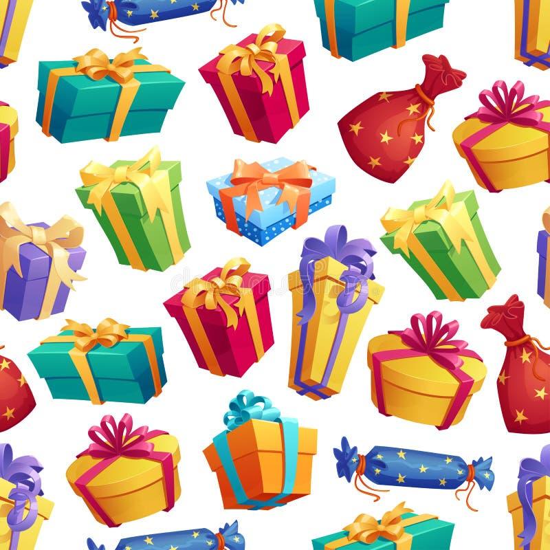 Teste padrão sem emenda dos presentes e das caixas dos presentes ilustração royalty free