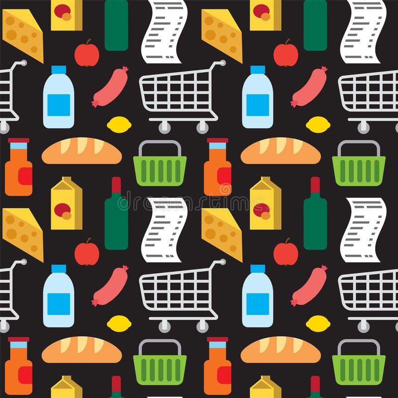 Teste padrão sem emenda dos produtos do supermercado ilustração stock