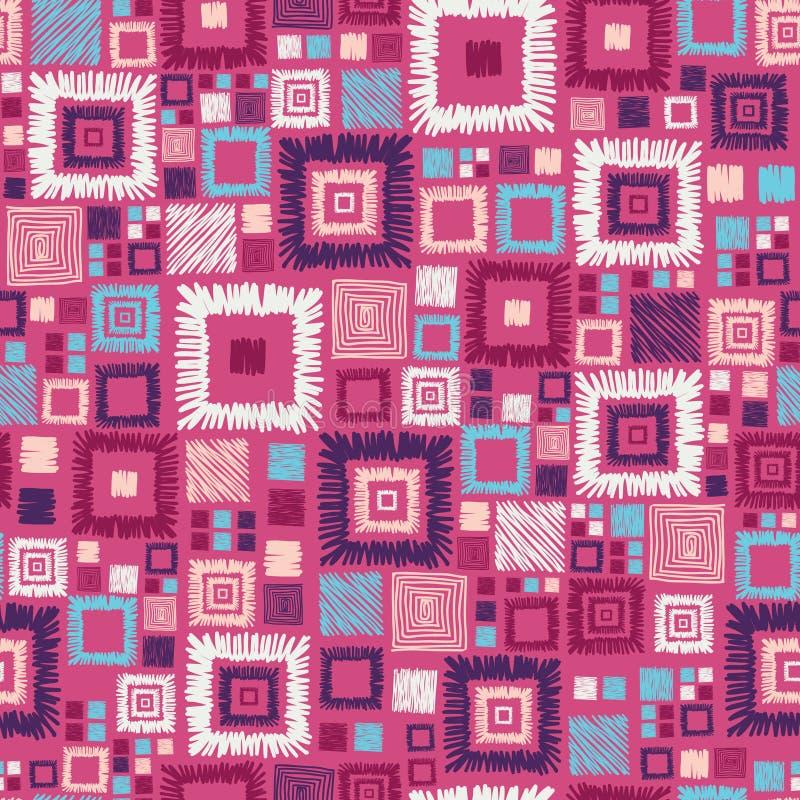 Teste padrão sem emenda dos quadrados geométricos coloridos ilustração stock
