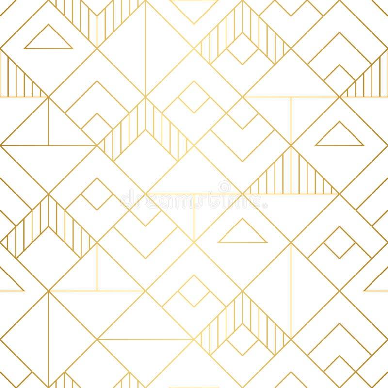 Teste padrão sem emenda dos quadrados geométricos com projeto mnimalistic do ouro imagem de stock royalty free