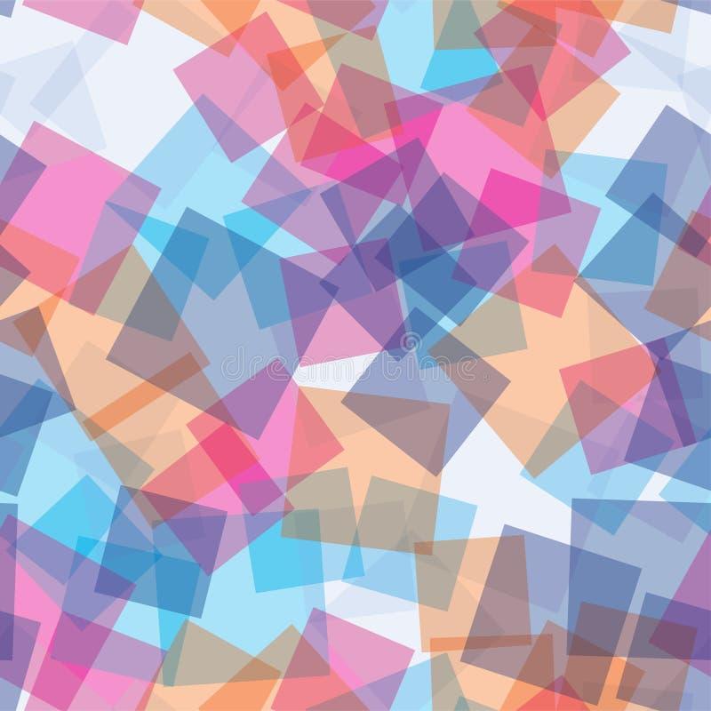 Teste padrão sem emenda dos quadrados transparentes aleatórios abstraia o fundo Quadrados sobrepostos em se geométrico Tela da có ilustração stock