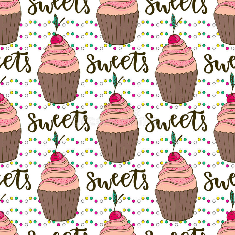 Teste padrão sem emenda dos queques do vetor Fundo da garatuja com bolos dos doces Decoração do aniversário ilustração do vetor