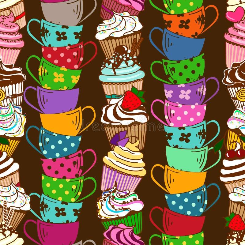 Teste padrão sem emenda dos queques e dos copos de chá ilustração stock