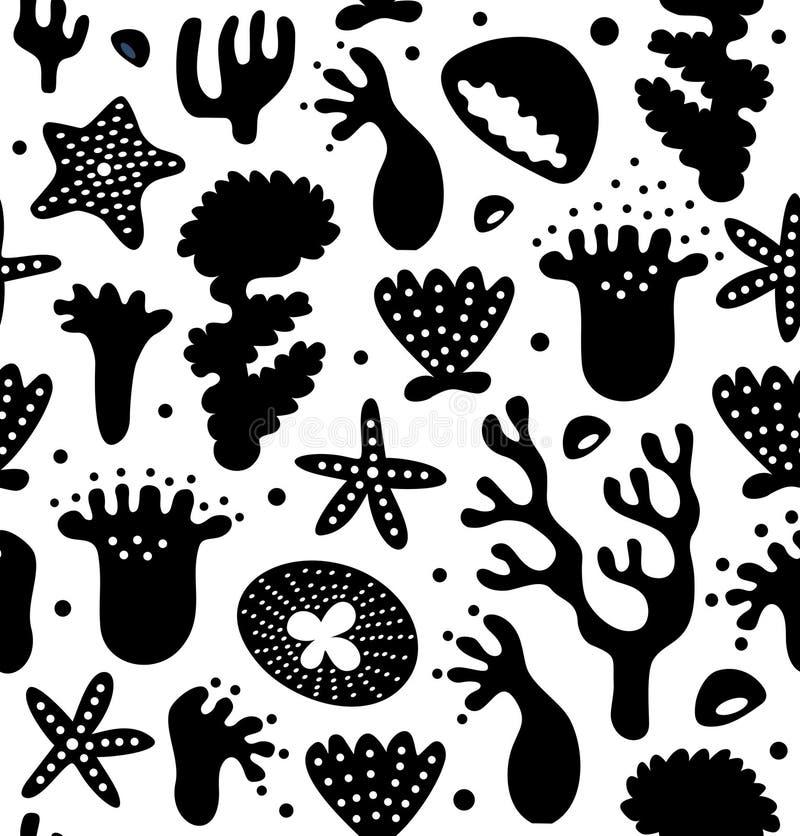 Teste padrão sem emenda dos recifes de corais, fundo marinho tropical decorativo ilustração do vetor
