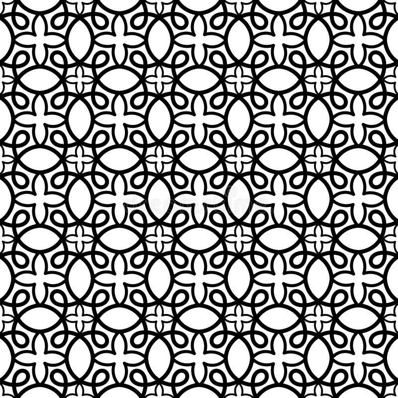 Teste padrão sem emenda dos redemoinhos preto e branco ilustração royalty free
