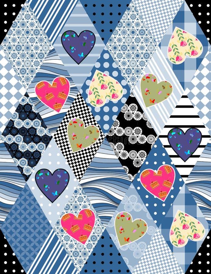 Teste padrão sem emenda dos retalhos com applique de corações coloridos ilustração stock