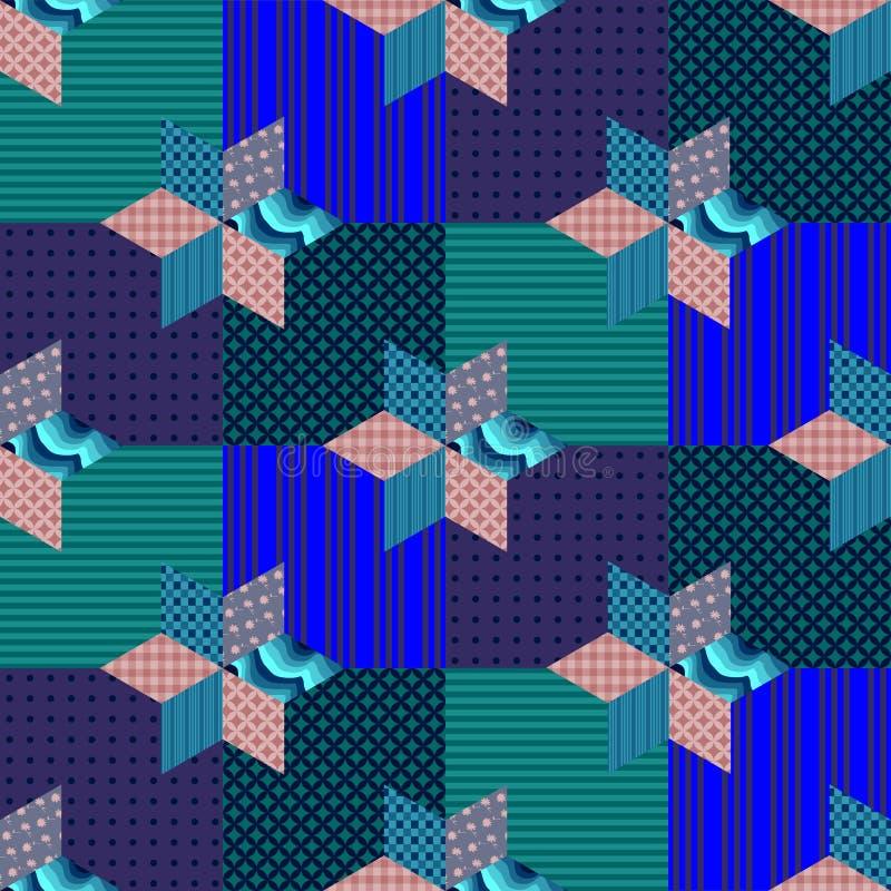 Teste padrão sem emenda dos retalhos com as estrelas em quadrados ilustração do vetor