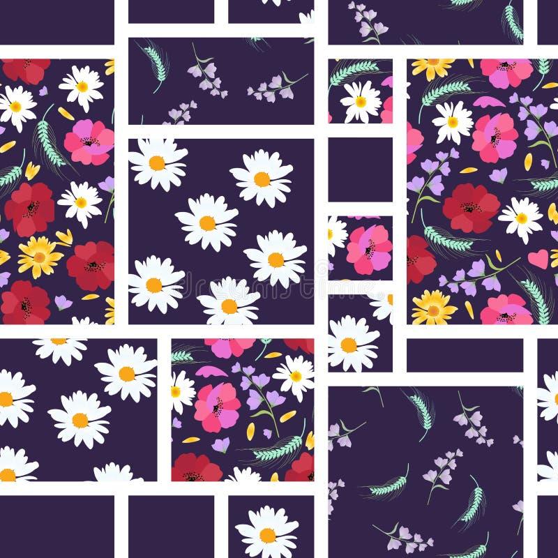 Teste padrão sem emenda dos retalhos com flores do verão - margaridas, papoilas, bellflowers Ilustração do vetor ilustração royalty free