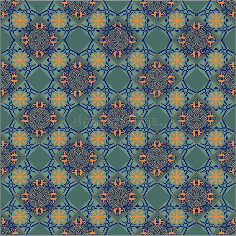 Teste padrão sem emenda dos retalhos do marroquino, das telhas portuguesas amarelas e da cor verde Contexto decorativo do ornamen ilustração do vetor