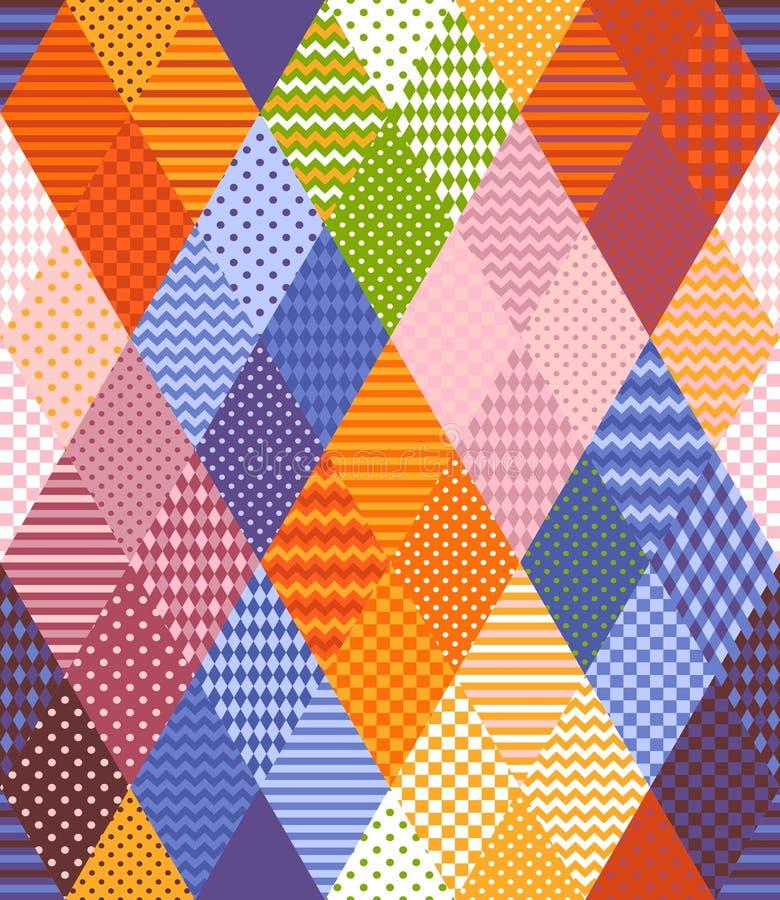 Teste padrão sem emenda dos retalhos dos remendos coloridos dos rombos Ilustração multicolorido brilhante do vetor ilustração stock