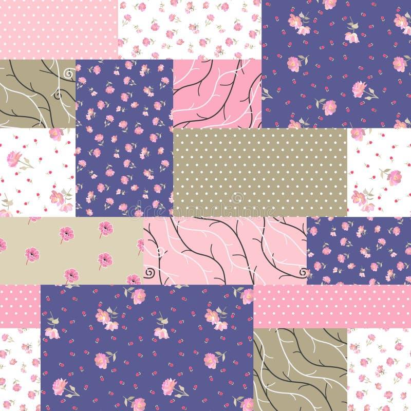 Teste padrão sem emenda dos retalhos dos remendos diferentes com flores, ramos e o ornamento cor-de-rosa do às bolinhas ilustração stock