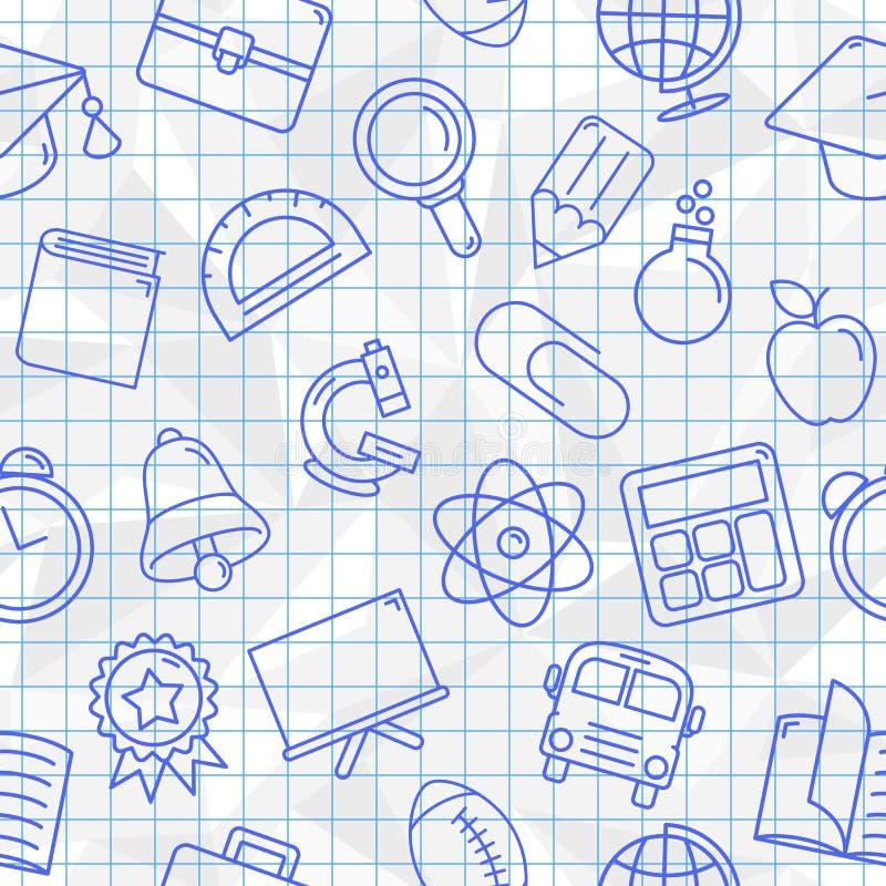 Teste padrão sem emenda dos símbolos da escola ilustração royalty free