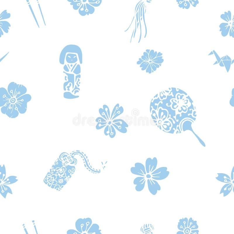 Teste padrão sem emenda dos símbolos japoneses tradicionais do vetor ilustração royalty free