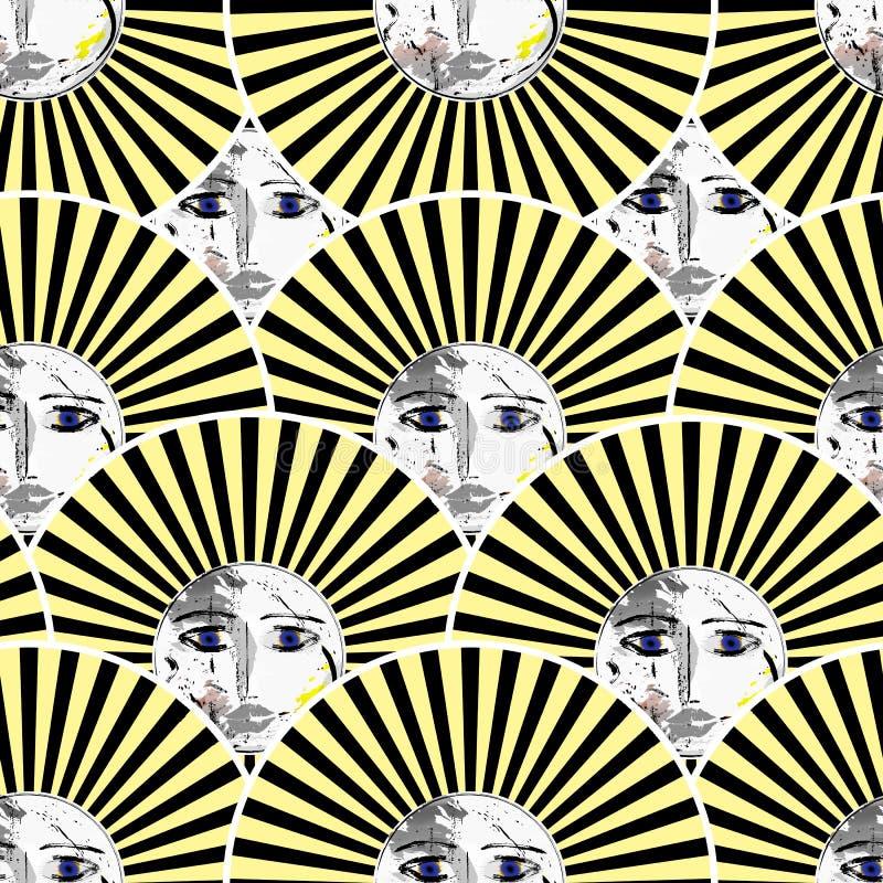 Teste padrão sem emenda dos sóis, estilo retro ilustração stock