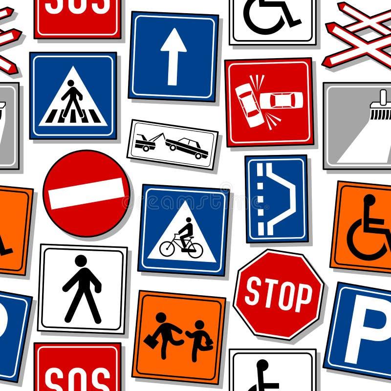 Teste padrão sem emenda dos sinais de tráfego dos desenhos animados ilustração royalty free