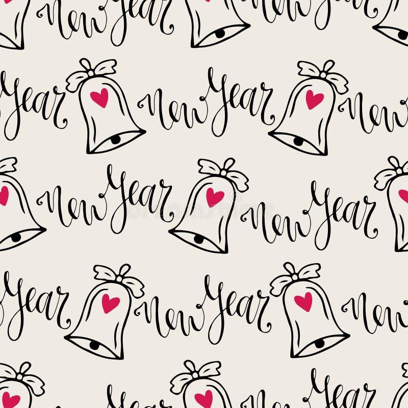 Teste padrão sem emenda dos sinos de Natal com caligrafia Vector o fundo moderno para o papel de envolvimento do ano novo ilustração stock