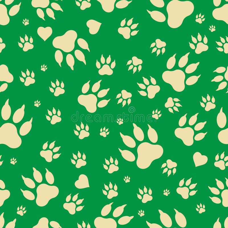 Teste padrão sem emenda dos traços de patas do ` s do cão ilustração royalty free