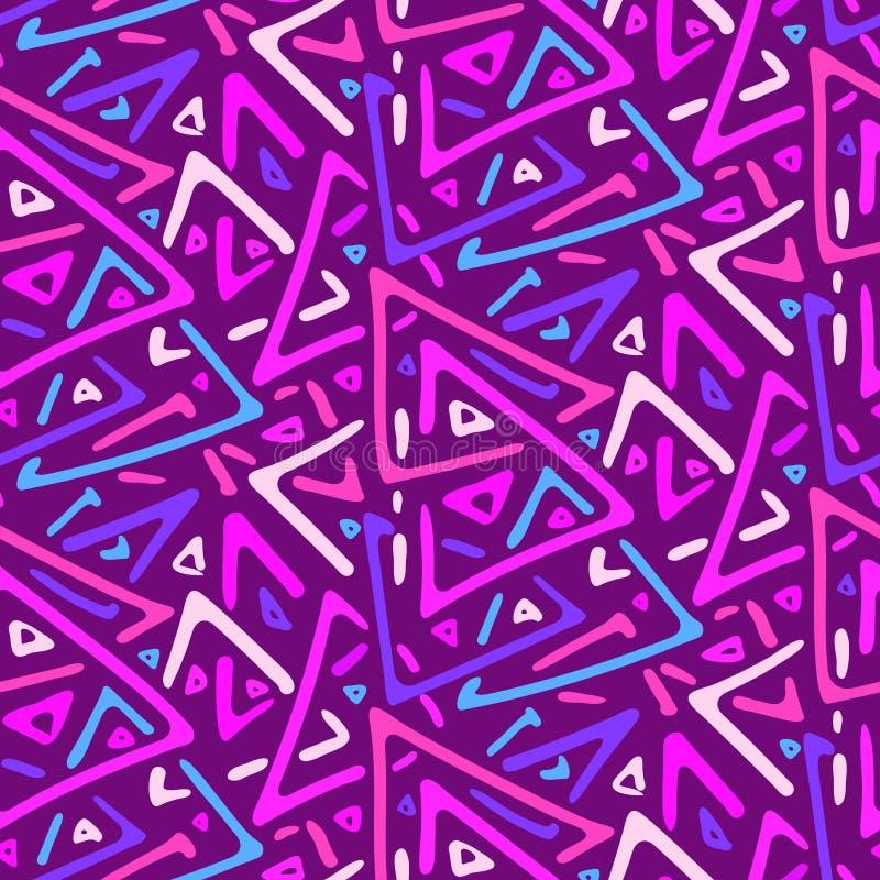 Teste padrão sem emenda dos triângulos cor-de-rosa e roxos do esboço ilustração stock