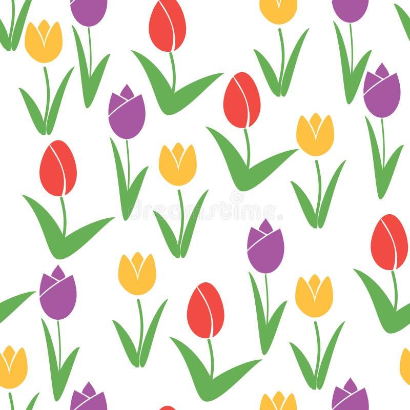 Teste padrão sem emenda dos Tulips Fundo do vetor da flor ilustração stock