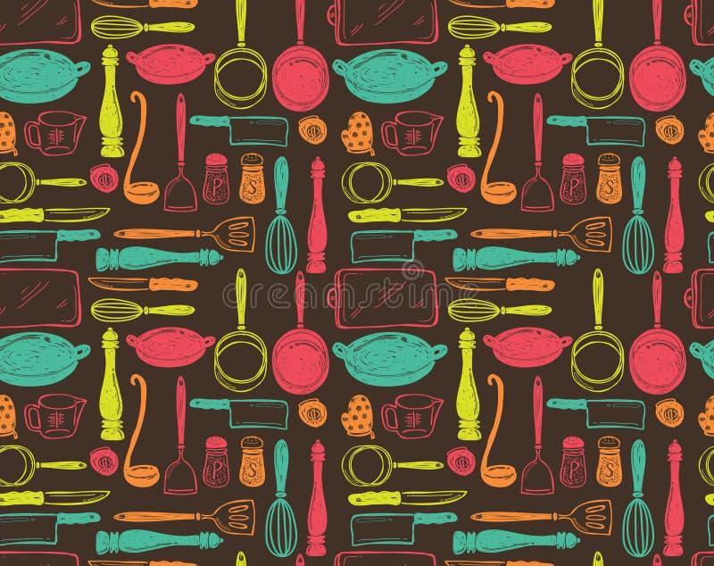 Teste padrão sem emenda dos utensílios da cozinha ilustração do vetor