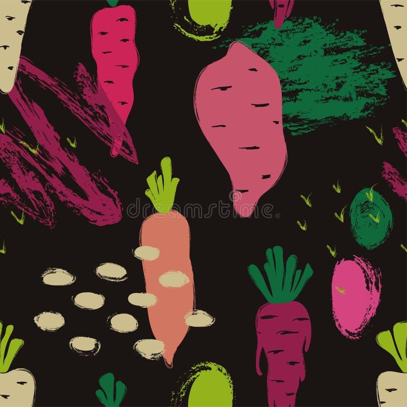 Teste padrão sem emenda dos vegetais coloridos abstratos ilustração do vetor