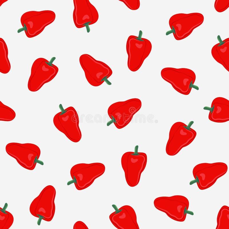 Teste padrão sem emenda dos vegetais da pimenta no fundo branco, alimento vermelho dos ingredientes das pimentas doces ilustração royalty free