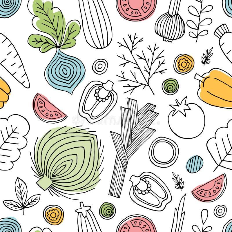 Teste padrão sem emenda dos vegetais do divertimento Gráfico linear Fundo dos vegetais Estilo escandinavo Alimento saudável Ilust ilustração royalty free