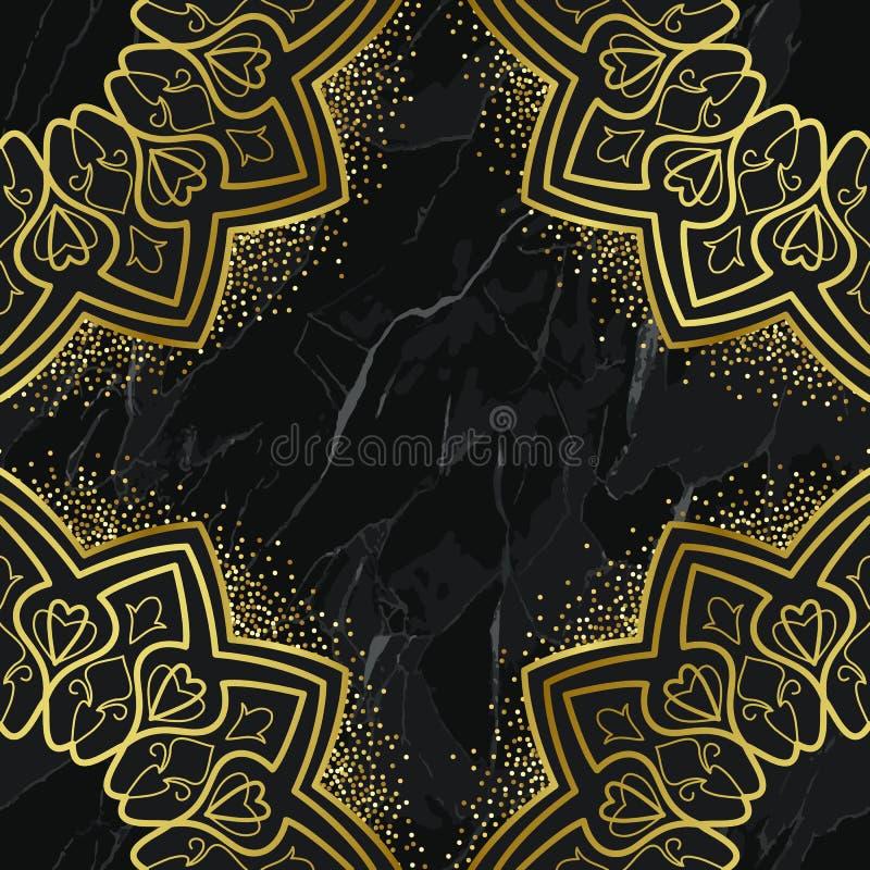 Teste padrão sem emenda dourado árabe no fundo de mármore ilustração stock
