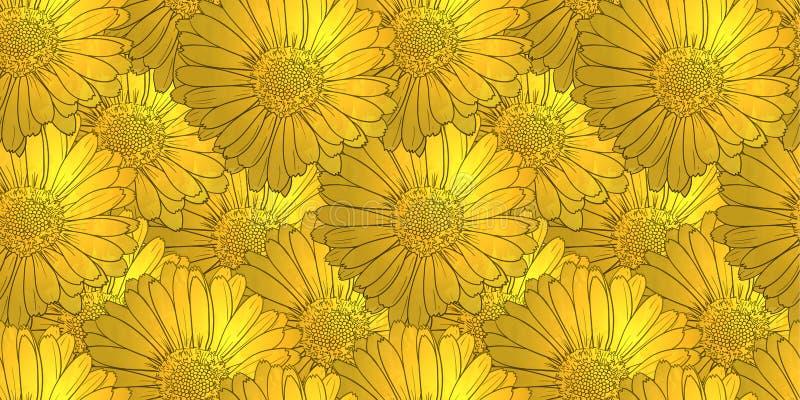 Teste padrão sem emenda dourado com flores, fundo floral do vetor, mola, verão ilustração royalty free