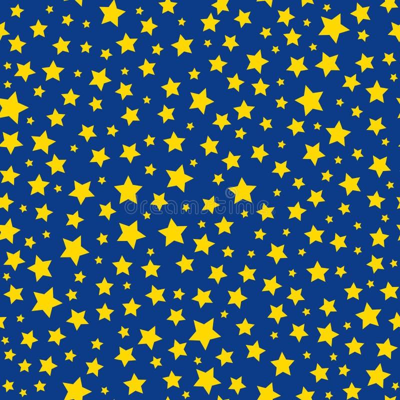 Teste padrão sem emenda dourado do céu azul das estrelas ilustração stock