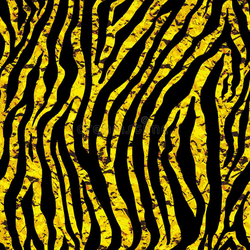 Teste padrão sem emenda dourado do tigre ou da zebra da folha ilustração do vetor