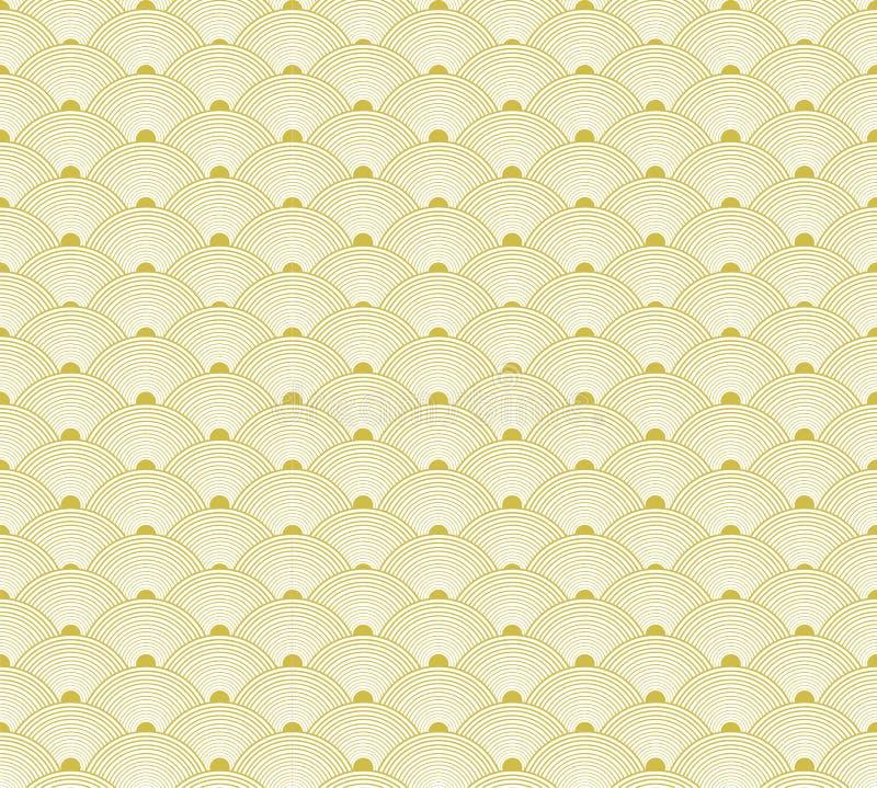 Teste padrão sem emenda dourado japonês, fundo do VETOR, fundo tradicional de Ásia ilustração stock