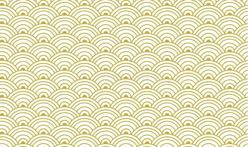 Teste padrão sem emenda dourado japonês tradicional do vetor, ouro e molde branco do fundo ilustração stock