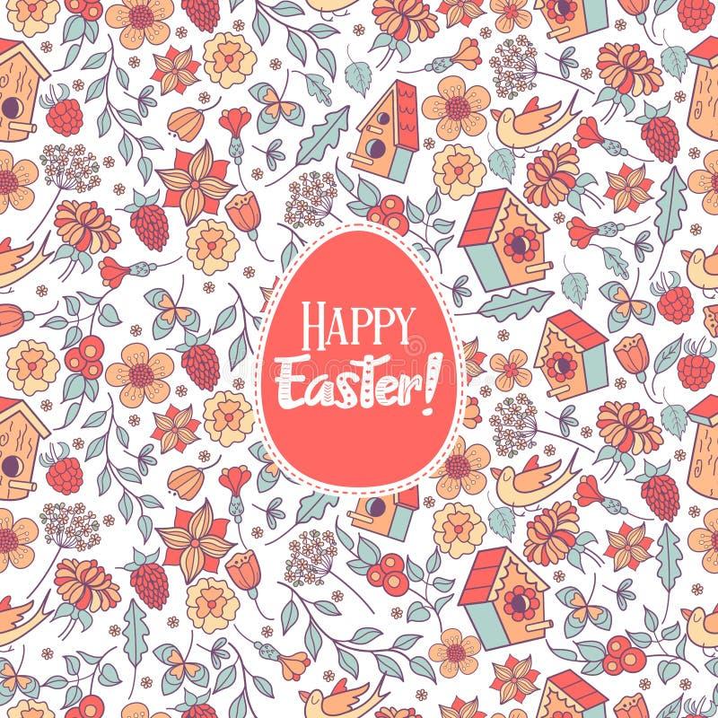 Teste padrão sem emenda Easter feliz Flores da mola, ervas, aviários, pássaros Teste padrão bonito da mola para imprimir na tela, ilustração do vetor