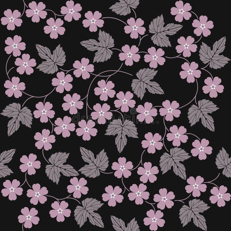 Teste padrão sem emenda elegante com flores e folhas ilustração royalty free