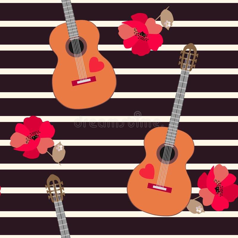 Teste padrão sem emenda elegante com guitarra acústicas e as papoilas vermelhas no fundo listrado preto e bege ilustração do vetor