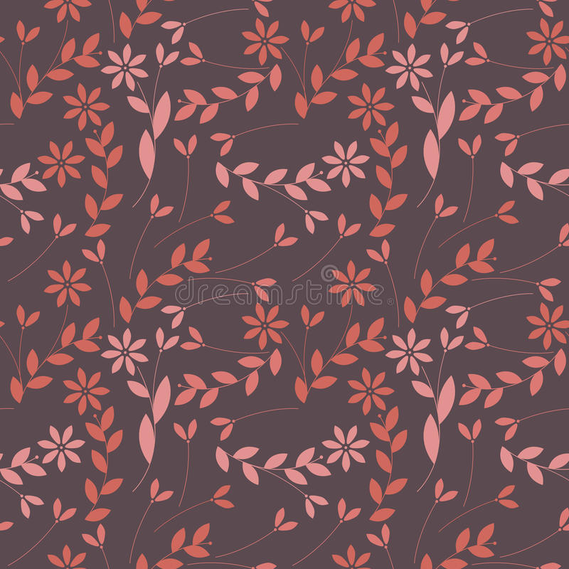 Teste padrão sem emenda elegante com plantas, folhas e flores ilustração royalty free
