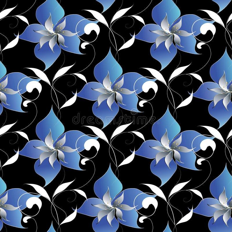 Teste padrão sem emenda elegante floral Wallpap preto do fundo do vetor ilustração do vetor