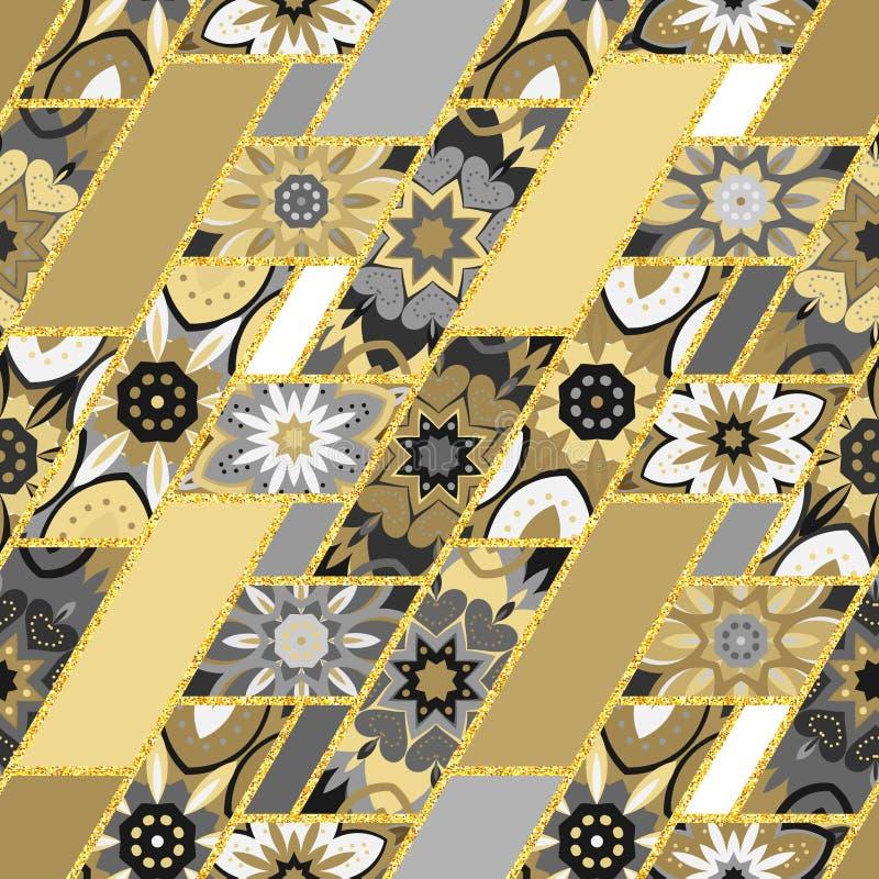 Teste padrão sem emenda Elementos decorativos do vintage Fundo tirado mão Islã, árabe, indiano, motivos do otomano Aperfeiçoe par ilustração stock