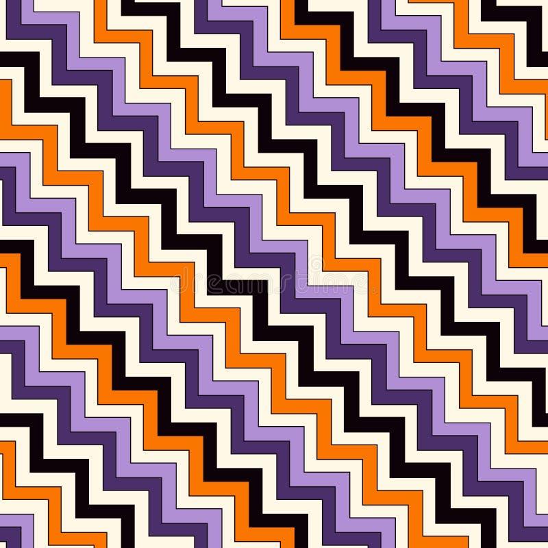 Teste padrão sem emenda em cores tradicionais de Dia das Bruxas A diagonal brilhante das cores do ziguezague de Chevron alinha o  ilustração stock