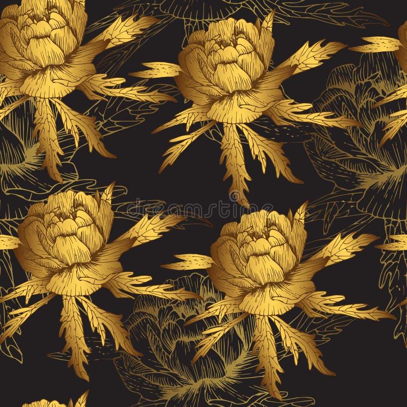 Teste padrão sem emenda em flores douradas de um fundo escuro fotografia de stock royalty free