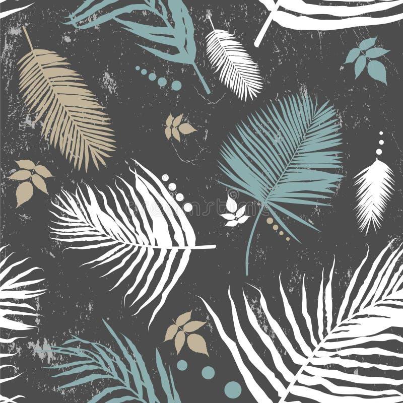 Teste padrão sem emenda em folha de palmeira ilustração royalty free
