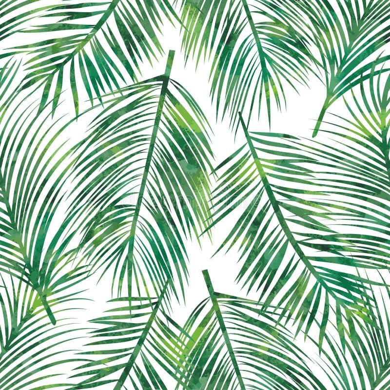 Teste padrão sem emenda em folha de palmeira ilustração do vetor