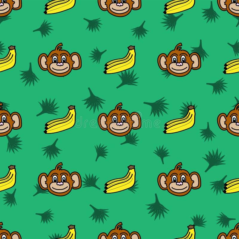 Teste padrão sem emenda engraçado com as caras, as bananas e as folhas de palmeira do macaco tiradas à mão ilustração royalty free